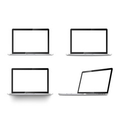 realistic set laptops front view and angled vector image