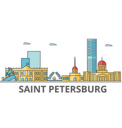 Saint petersburg city skyline buildings streets vector