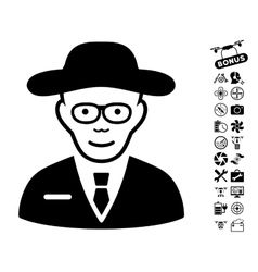 Scientist Icon With Copter Tools Bonus vector
