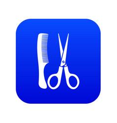 scissors and comb icon digital blue vector image