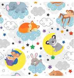 Seamless pattern with cute sleeping animals vector