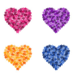 set flower hearts vector image