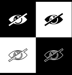Set invisible or hide icons isolated on black and vector
