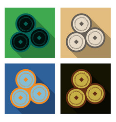 Set of chinese copper coins translation vector