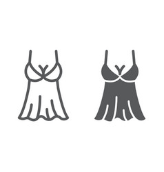 Sexy lingerie line and glyph icon valentine vector