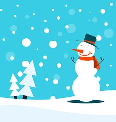 Snowman christmas poster or card vector image