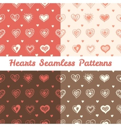 Soft hand drawn doodle hearts St Valentine Day vector