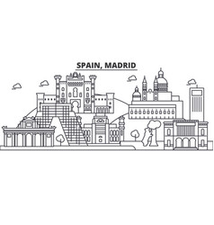 Spain madrid architecture line skyline vector