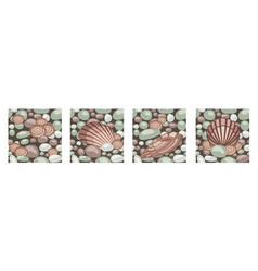 Stone texture with seashells set seamless vector