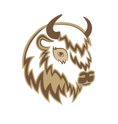 stylized head a buffalo with horns on the vector image