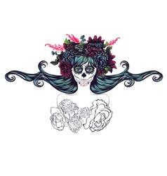 Sugar Skull Girl in Flower Crown7 vector