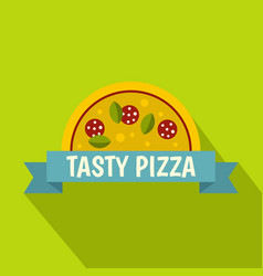 tasty pizza label icon flat style vector image