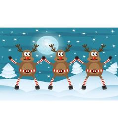 Three Christmas deer vector image