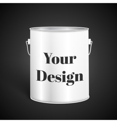 White Tall Tub Paint Bucket Container With Metal vector