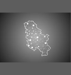 Wireframe mesh polygonal serbia no kosovo map vector