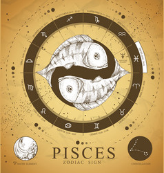 Witchcraft card with astrology pisces zodiac sign vector