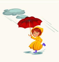 woman walking rain with umbrella hands raindrops vector image