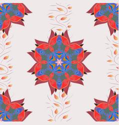 Flower on neutral blue and red mandala logo vector
