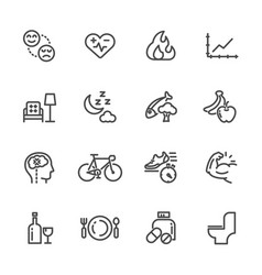 healthcare and healthy lifestyle icons set line vector image