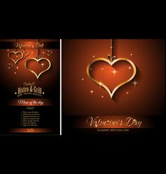 valentines day restaurant menu template background vector image