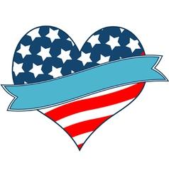 american flag heart vector image
