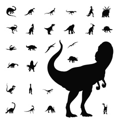 dinosaur silhouette collection vector image vector image