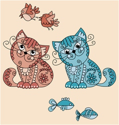 folk-style cats vector image