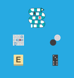 icon flat games set of checkers game table game vector image