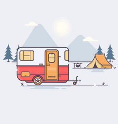 retro caravan on the forest vector image