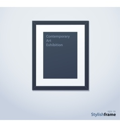 Stylish black photoframe with mount vector image