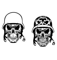 Warrior and pilot skulls in military helmets vector image