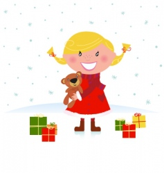 winter blond child with gifts vector image vector image
