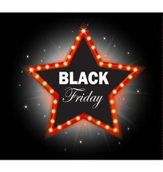 Black friday banner shining star retro vector