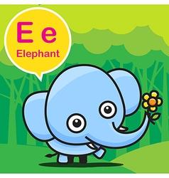 E Elephant color cartoon and alphabet for children vector image vector image