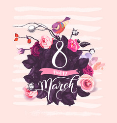 happy 8 march handwritten lettering against vector image