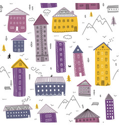 seamless pattern with winter houses and mountains vector image