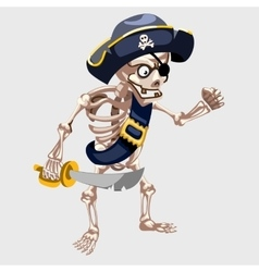 Skeleton pirate with belt and sharp sword vector image