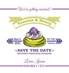 Wedding Invitation Card - Dessert Cake Theme vector image vector image