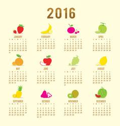 calendar 2016 fruit cute cartoon vector image