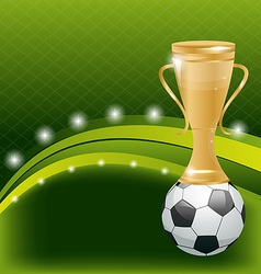 Football card with ball and prize vector image