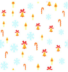 seamless pattern with jingle bells and snowflakes vector image