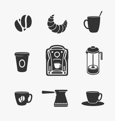 set of symbol of coffee and tea vector image vector image