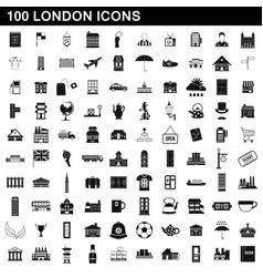 100 london icons set simple style vector