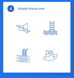 4 waves icons vector