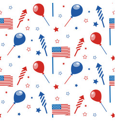 4th of july seamless pattern with festive vector