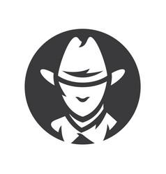 american cowboy head simple silhouette vector image