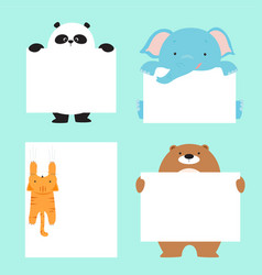 animal holding empty banner template vector image