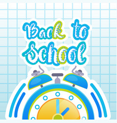 Back to school logo clock on notebook background vector
