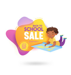 back to school sale banner with cute cartoon vector image