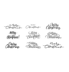 big set merry christmas calligraphy designs vector image